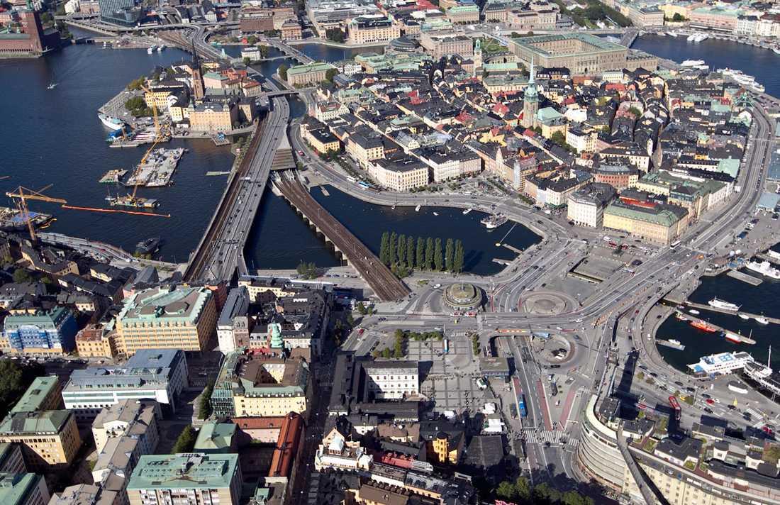 Slussen i dag Vy över Slussen och Gamla stan från Södermalm.
