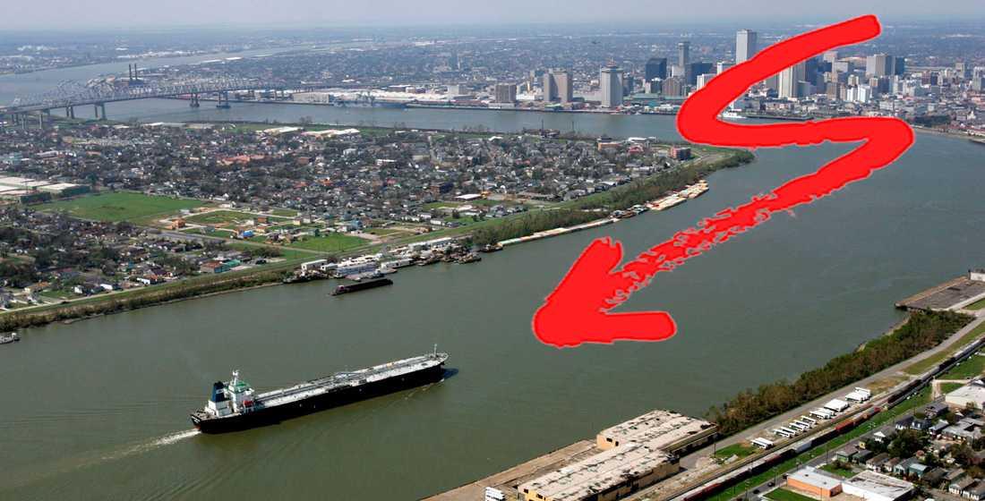 Orkanen Laura har fått Mississippifloden att byta riktning.