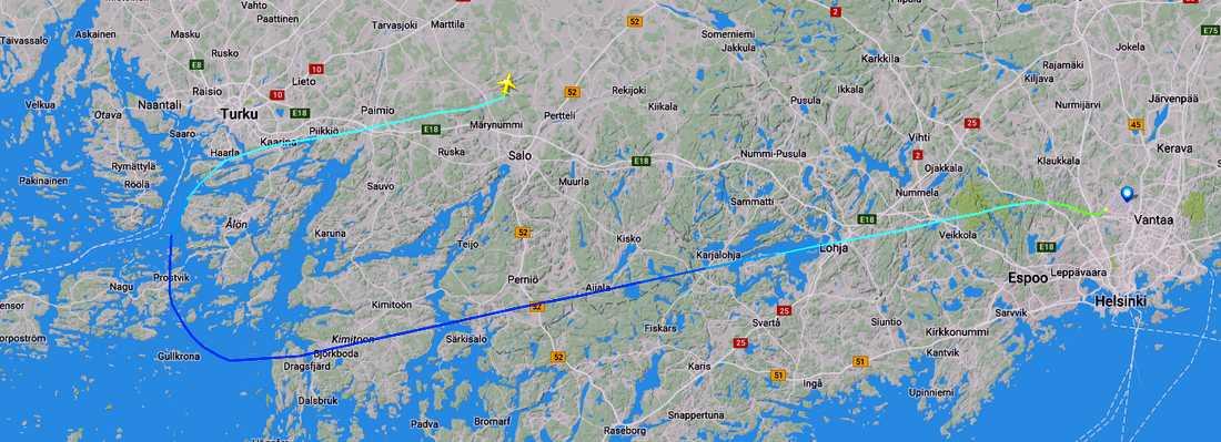 Planet nödlandade i Åbo.