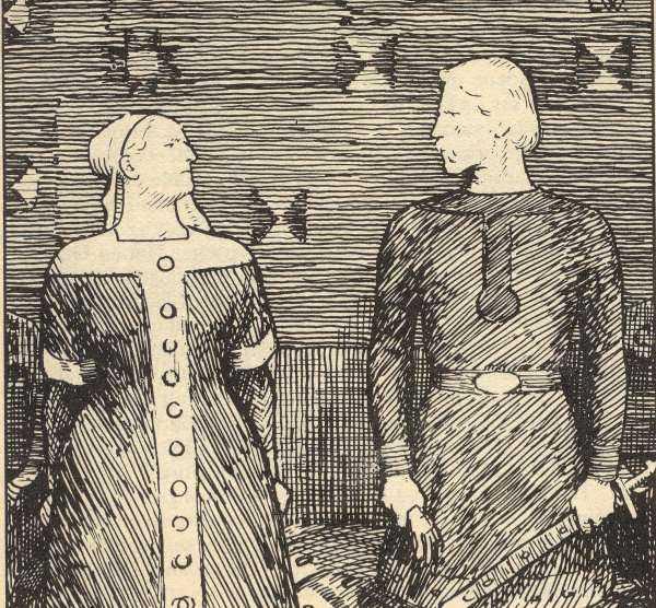 FRIERIET. Bilden visar Olav Tryggvasons frieri till Sigrid. Efter att ha fått korgen ska Olav ha slagit Sigrid med handsken. Sigrid varnade då för att det skulle kosta honom livet.