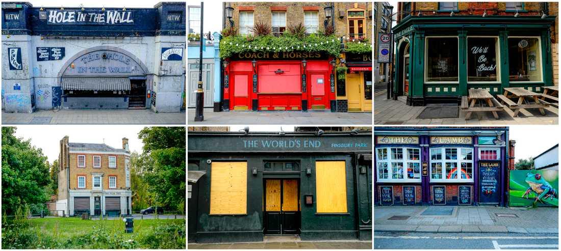 En dyster samling bildbevis över hur virusrestriktionerna stängde Storbritanniens cirka 47000 pubar den 20 mars. Arkivbild.