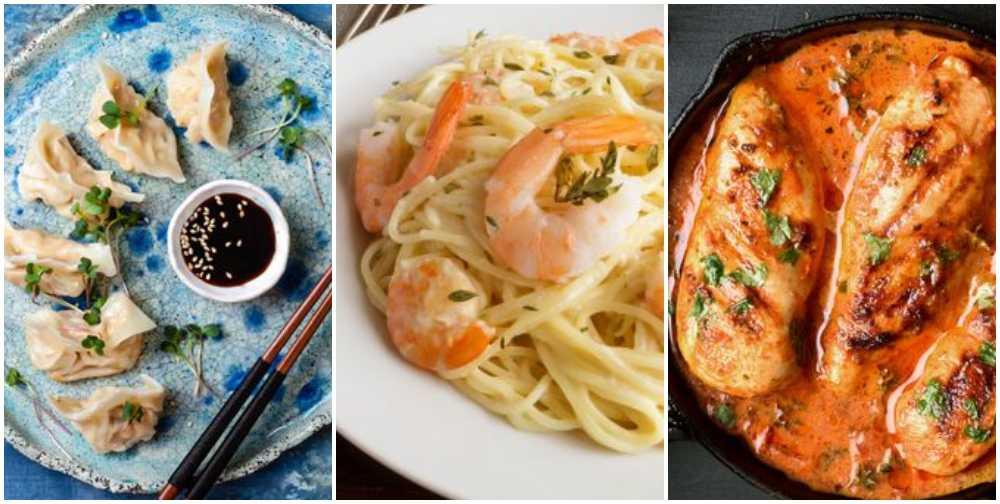 Dumplings, pasta med räkor, kyckling