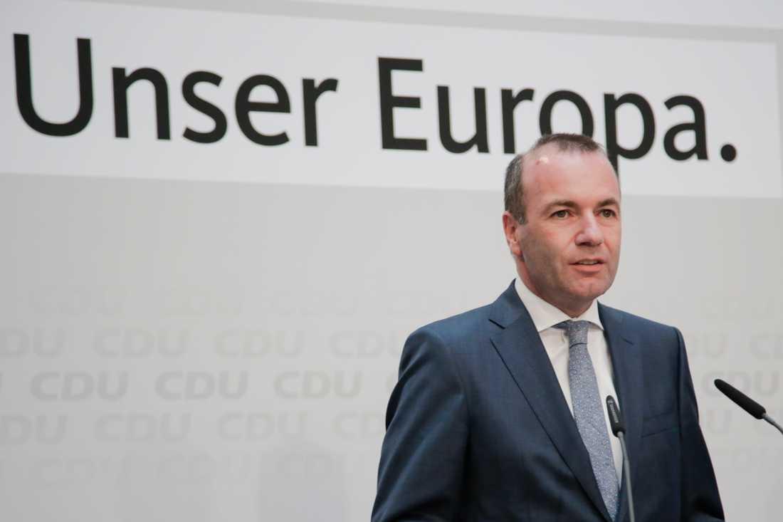 Tyske Manfred Weber är Europahögerns gruppledare i EU-parlamentet och favorit till posten som ny ordförande för EU-kommissionen. Arkivfoto.