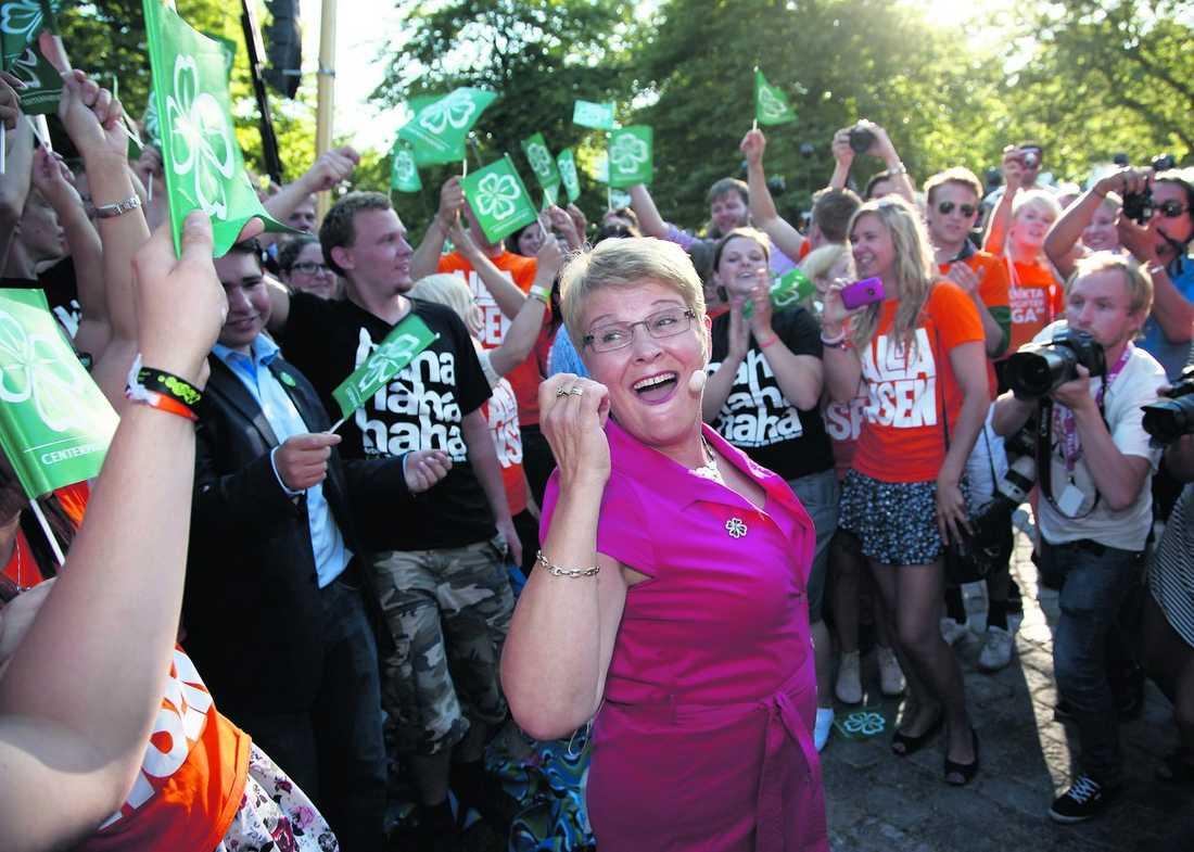 på grönbete Här kampanjar partiledare Maud Olofsson och Centerns