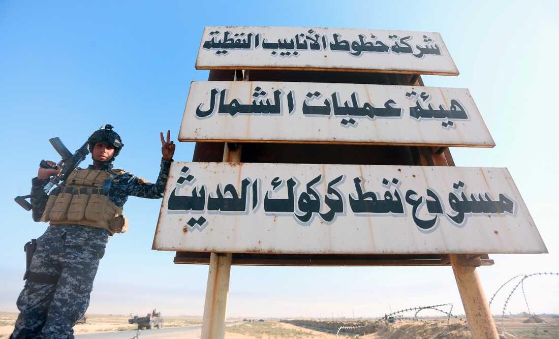 En irakisk soldat i Kirkuk.