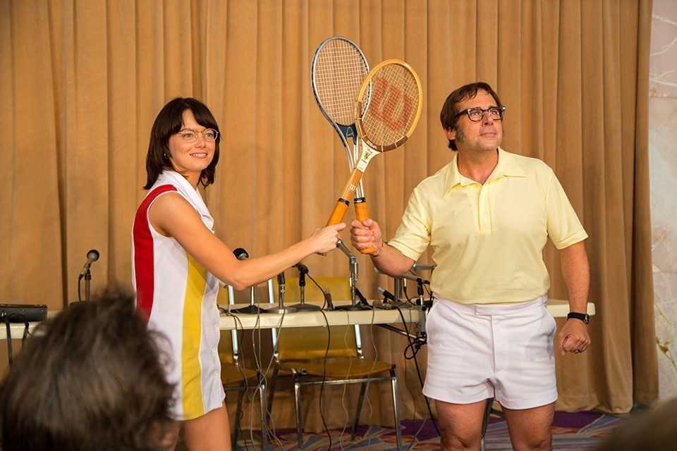 "Emma Stone och Steve Carell i ""Battle of the sexes""."