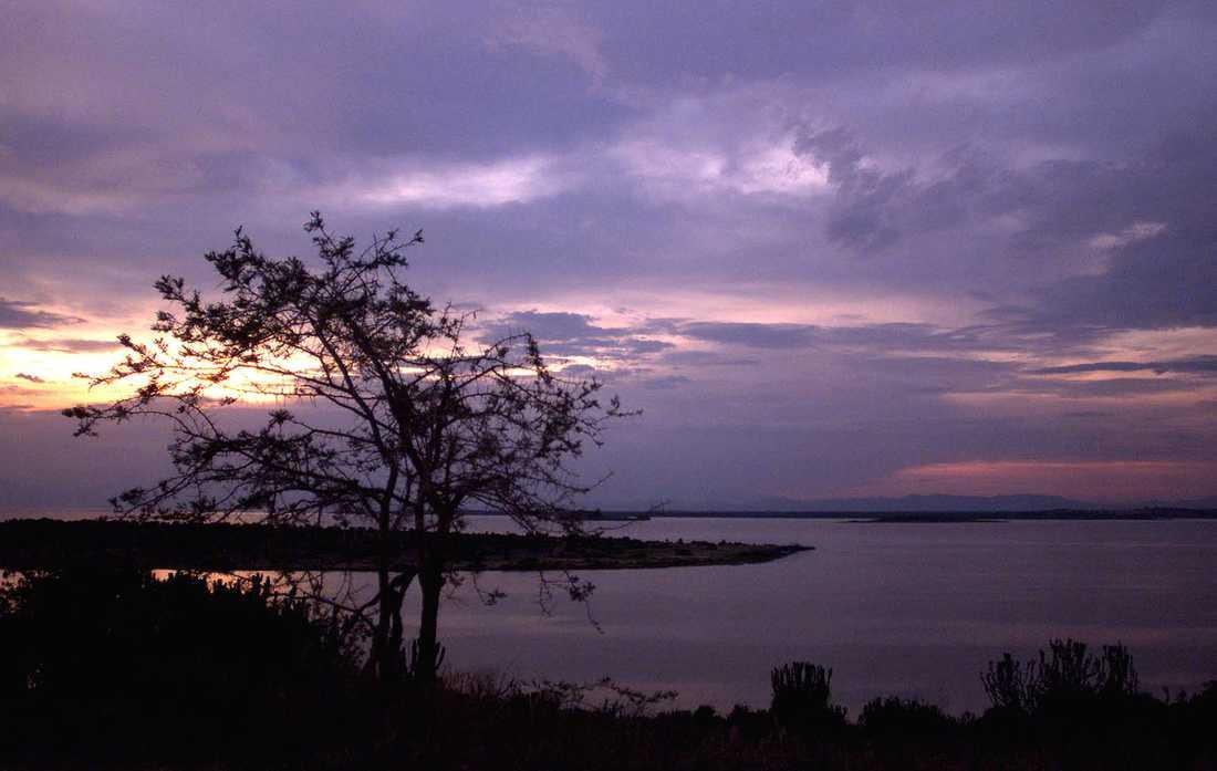 Solnedgång vid en sjö vid Queen Elizabeth National Park i västra Uganda. Arkivbild.