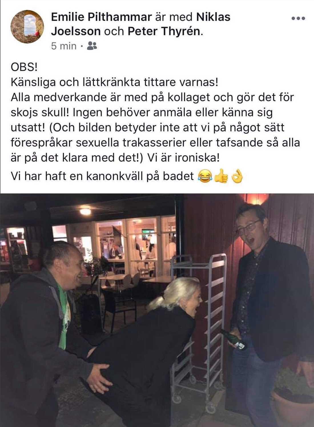 På bilden syns Emilie Pilthammar posera utmanande mellan Niklas Joelsson (M) som är ordförande i Sölvesborgs barn- och utbildningsnämnd samt Peter Thyrén (SD) som är ordförande i Sölvesborgs kultur- och fritidsnämnd.
