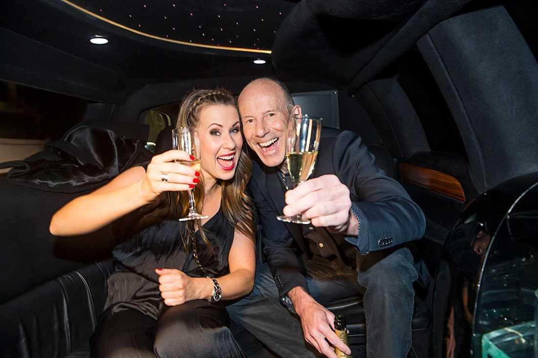 "Cecilia Ehrling firar segern i ""Let's dance"" 2015 med Ingemar Stenmark."