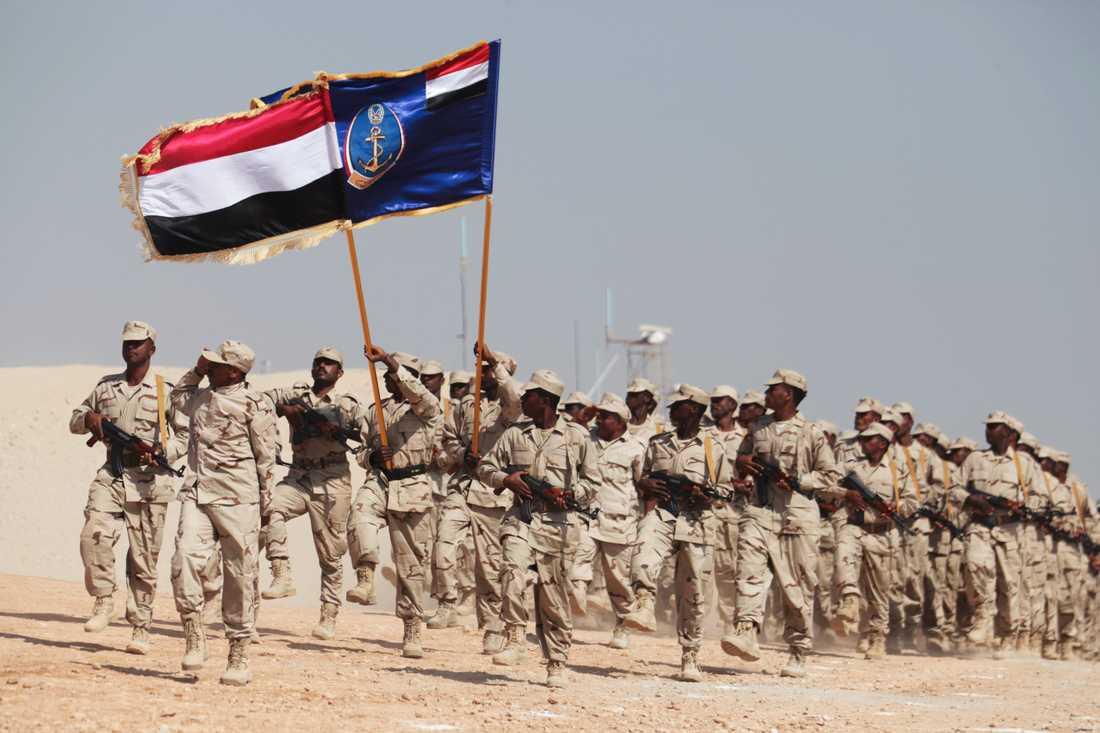 Jemenitiska soldater i Mukalla i Jemen.