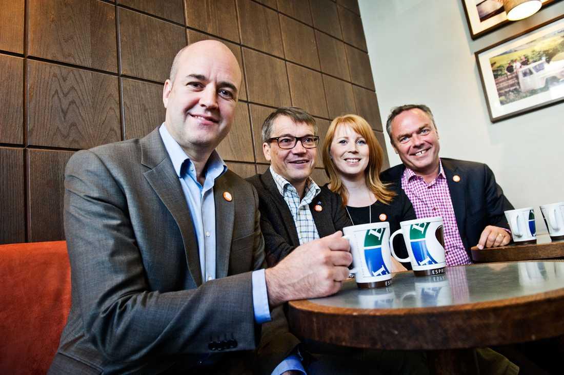 Fredrik Reinfeldt (M), Göran Hägglund (Kd), Annie Lööf (C) och Jan Björklund (Fp).