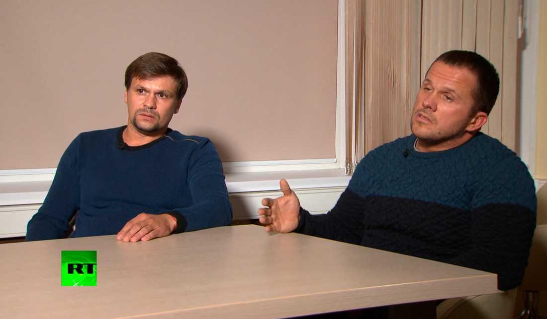 De män som kallas Ruslan Bosjirov och Alexander Petrov förnekar i en intervju med det statskontrollerade ryska propagandaorganet RT inblandning i mordförsöket mot den ryska ex-agenten Sergej Skripal. Arkivbild.
