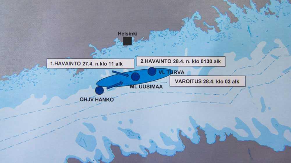 Tre olika fartyg har hört ljud från den misstänkta ubåten, berättade finska marinen under en presskonferens.