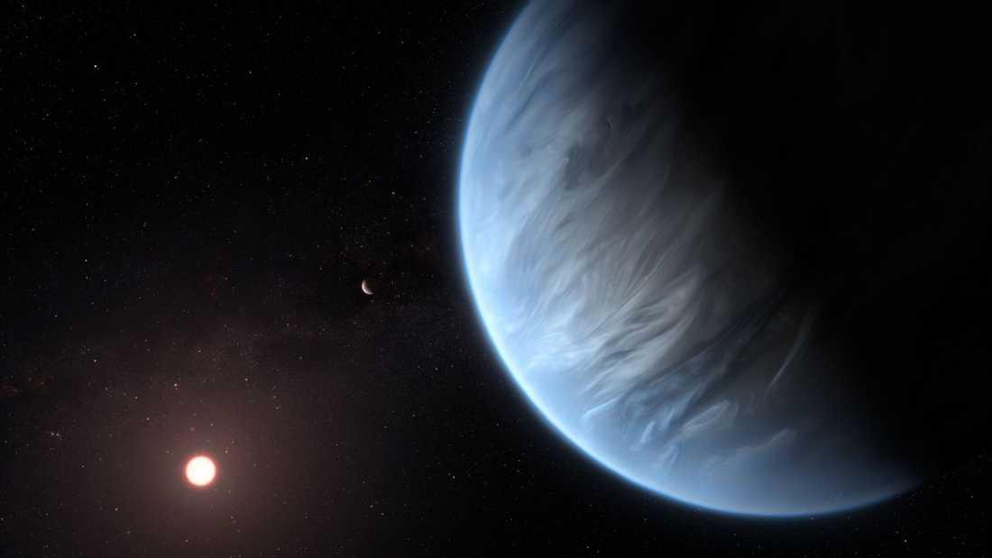 En tolkning av planeten K2-18b.