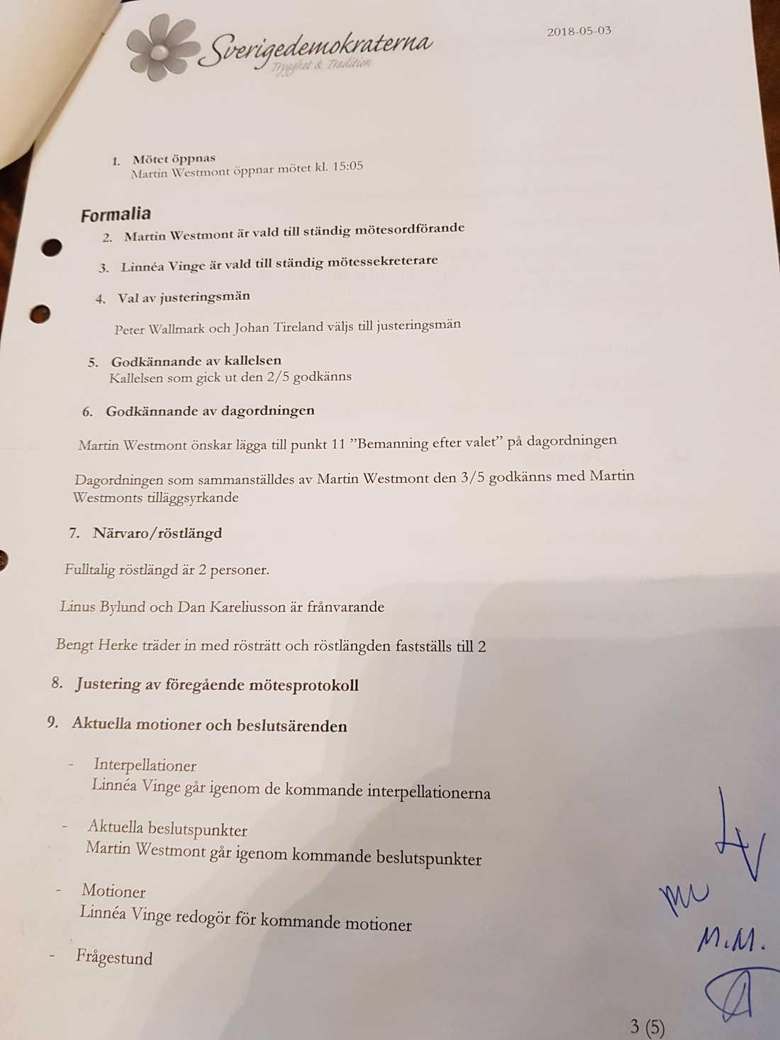 Protokollet som blivit centralt i den politiska maktstriden i SD Stockholm