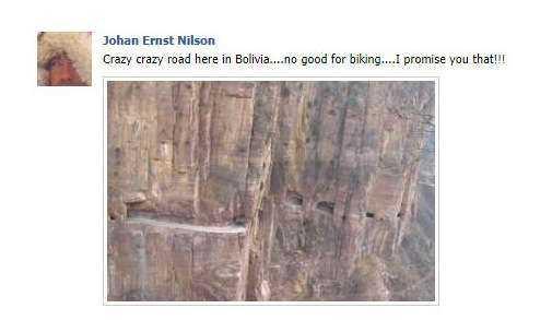 Falsk bild Äventyrarens Facebook-konto, där han skriver att det är livsfarligt att cykla i Bolivia på livsfarliga vägar.