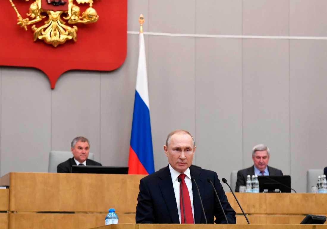 Vladimir Putin talade i statsduman på tisdagen.