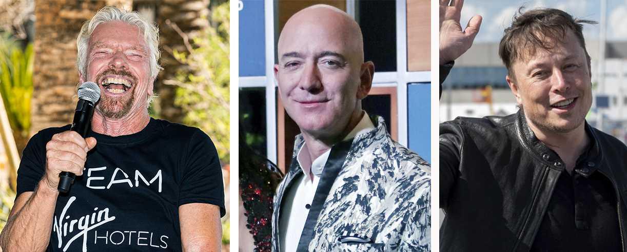 Branson, Bezos och Musk – tre miljardärer med sikte mot stjärnorna.