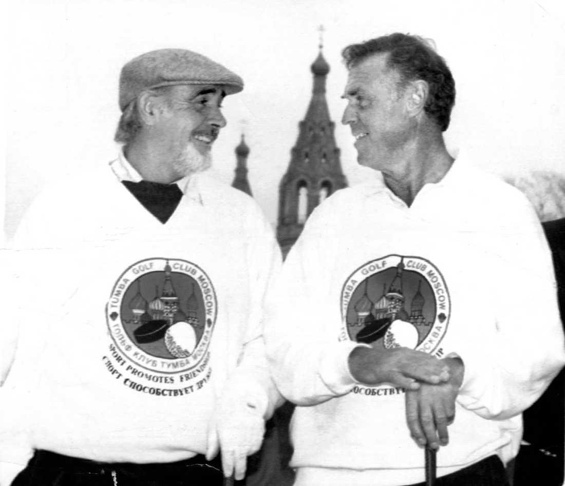Tillsammans med Sean Connery i Moskva 1989. Sven Tumba skapade stadens första golfbana.