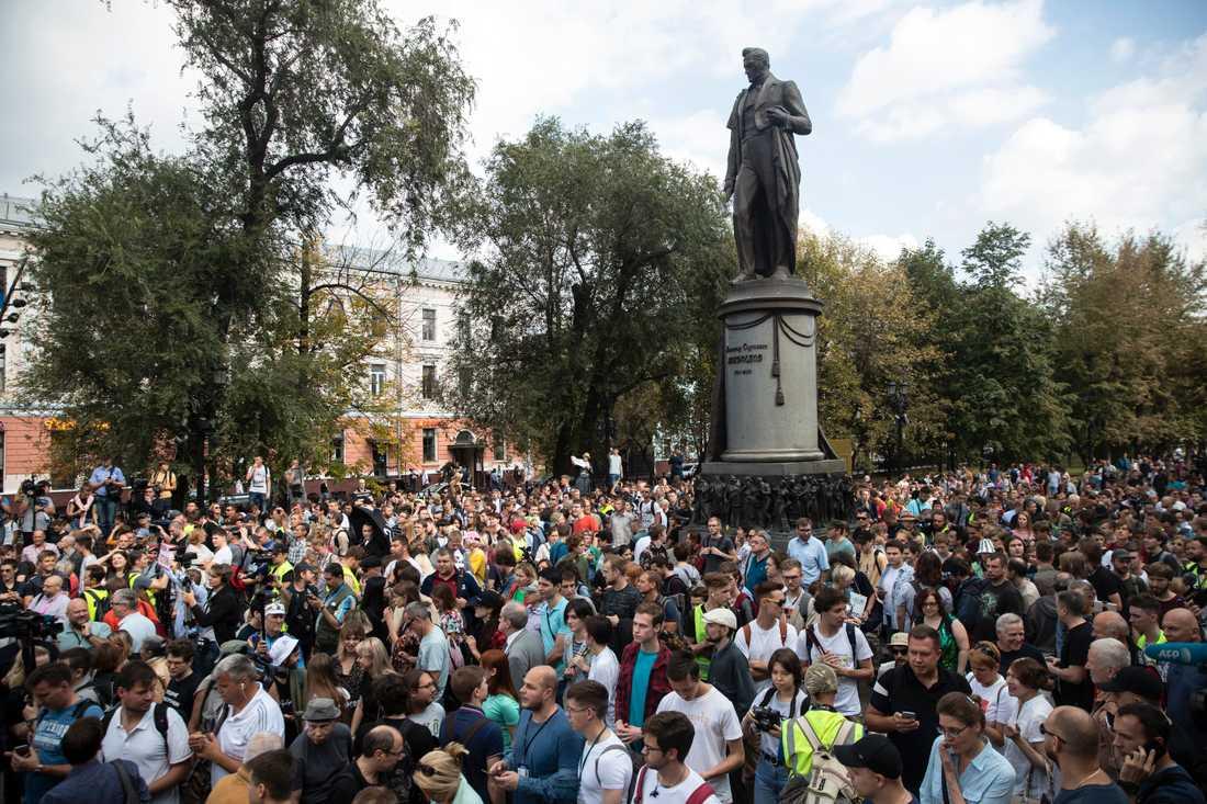 Protester i Rysslands huvudstad Moskva i slutet av augusti.