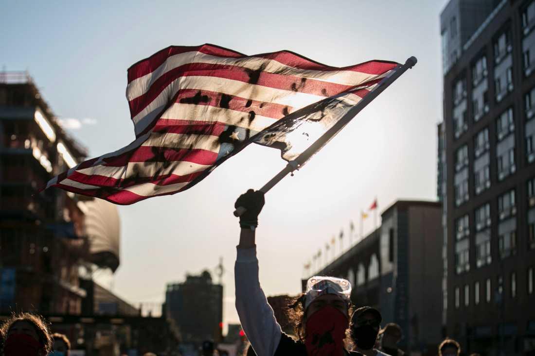 Fredlig demonstration i Brooklyn.