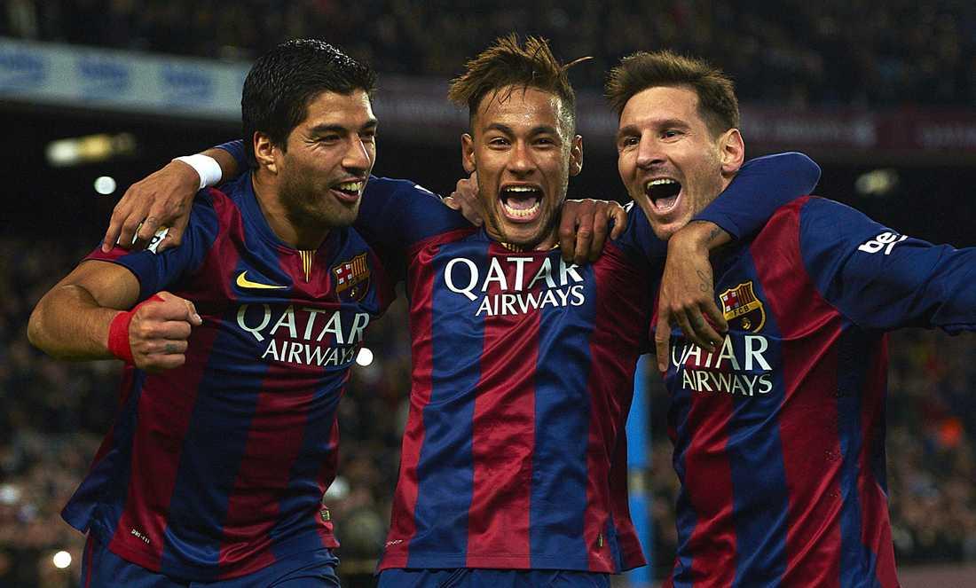 Suarez, Neymar och Messi firar tillsammans