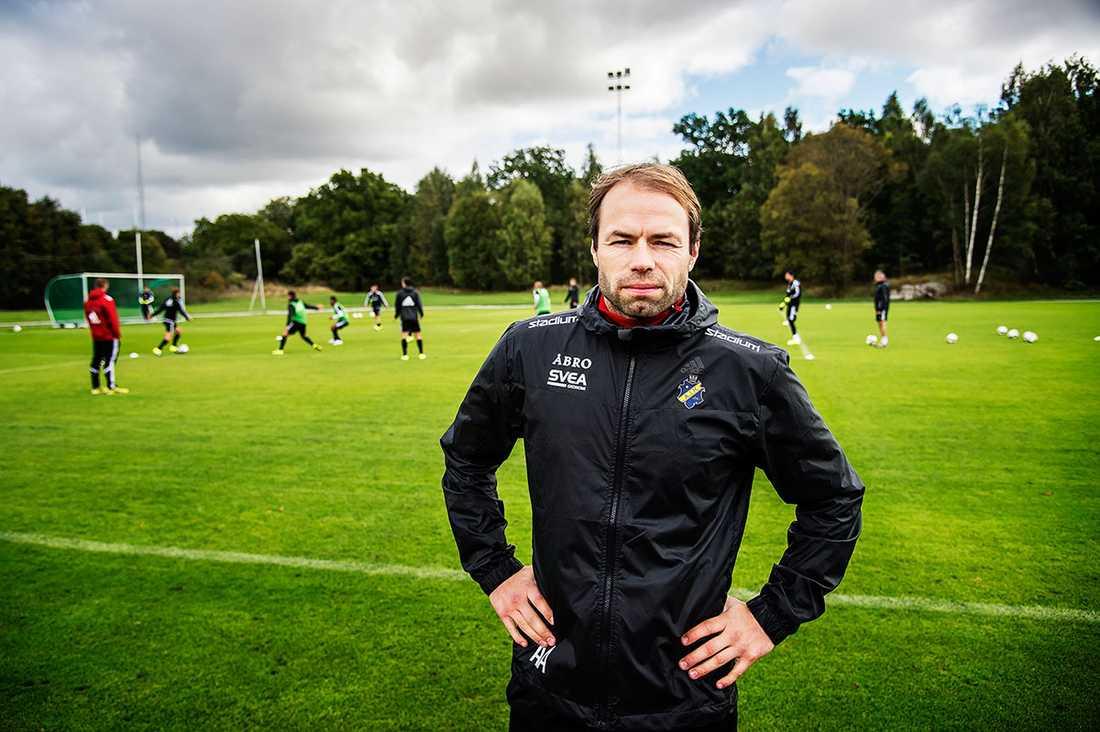 Andreas Alm på träningsanläggningen dagen efter.