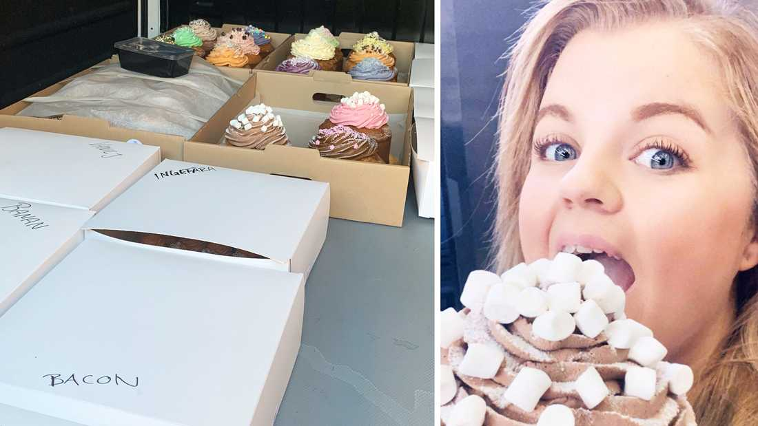Elin Sälling med alla cupcakes som levererades till TV4 i samband med inspelningen i oktober.