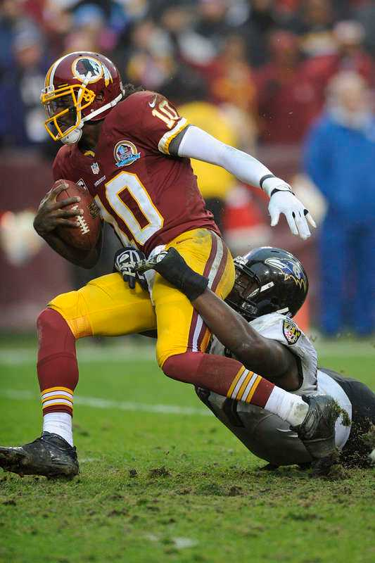 Washington Redskins-spelare i tuff duell.