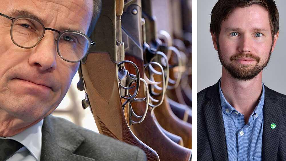 I det konservativa Sverige som Moderaterna vill skapa, ska regleringen och kontrollen över vapnen mildras. Symptomatiskt är hur lätt partiledaren Ulf Kristersson tog på det faktum att han själv påkoms med att inte ha låst sitt vapenskåp, skriver Rasmus Ling (MP).