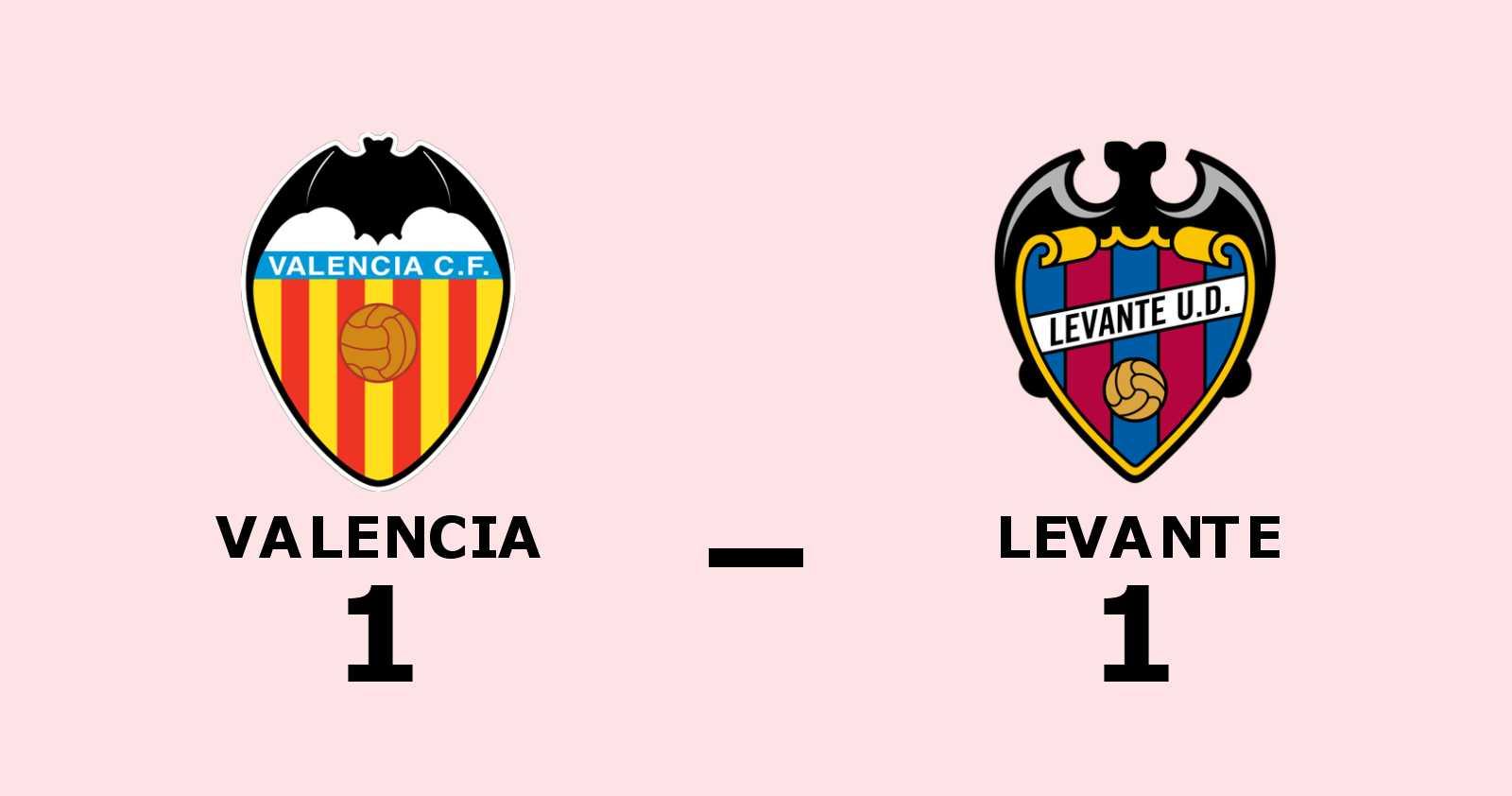 Valencia och Levante delade på poängen efter 1–1