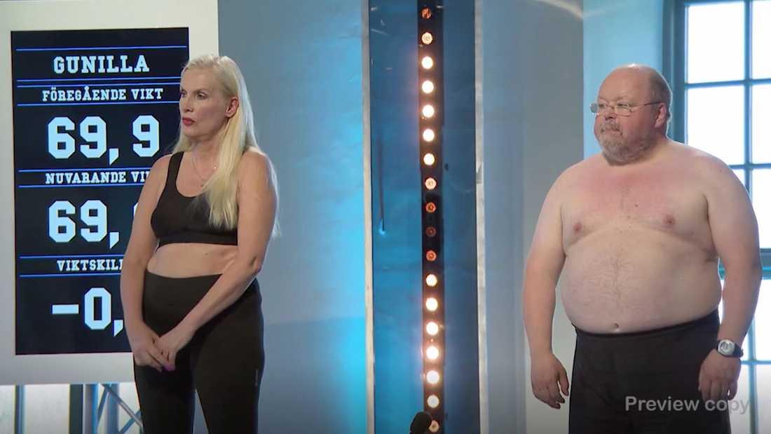"""Gunilla Persson och Kalle Moraeus i """"Biggest loser VIP""""."""
