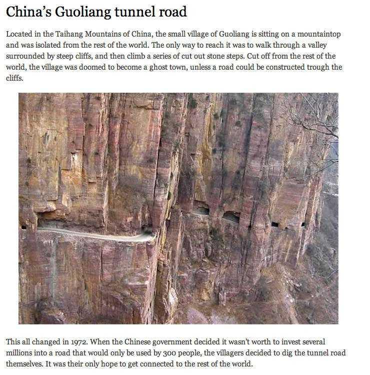 Äkta Det illustrerades med en bild på den ökända Guoliang-tunneln i Kina.