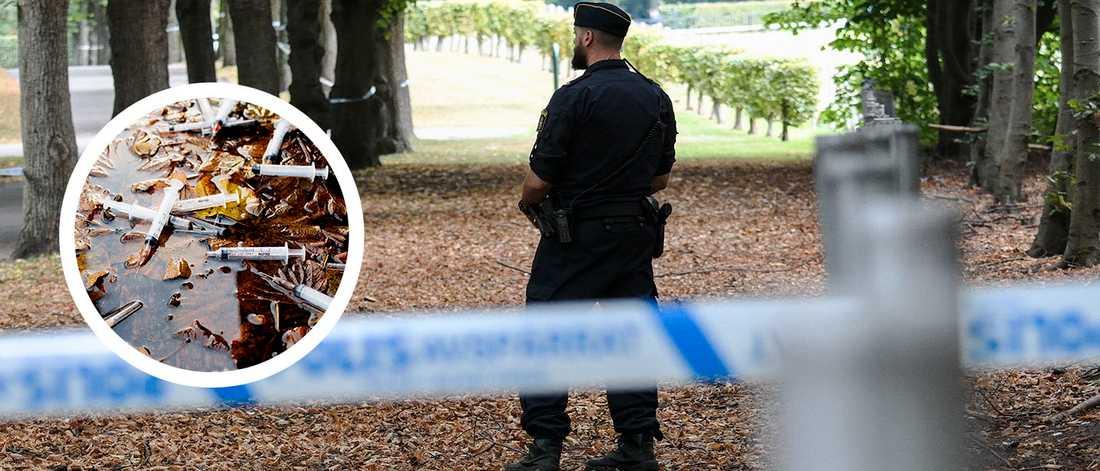 Polis på Östra kyrkogården i Malmö. Arkivbild.