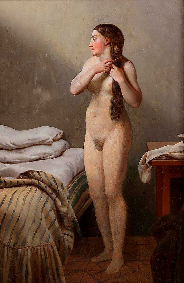 """Christoffer Wilhelm Eckersberg, """"Modellstudie"""", 1840–1841.  Olja på duk uppfodrad på trä. Nationalmuseum."""