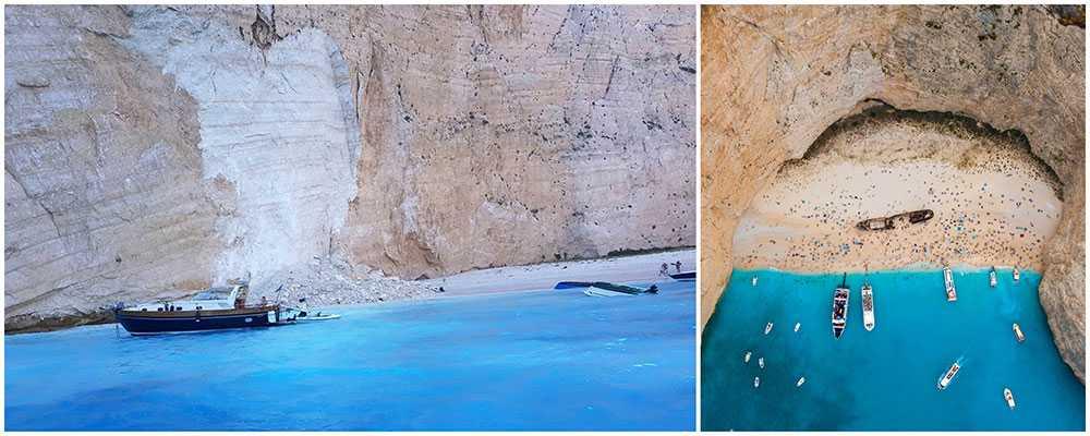 Den första bilden visar stenraset och den andra hur stranden såg ut innan jordbävningen. Shipwreck Beach på Zakynthos farlig för besökare.
