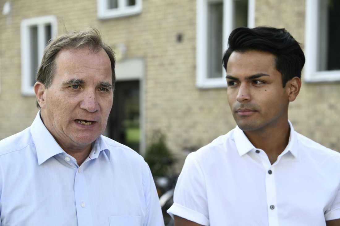 Statsminister Stefan Löfven och SSU:s ordförande Philip Botström presenterade ett vallöfte om bostäder till unga och studenter.