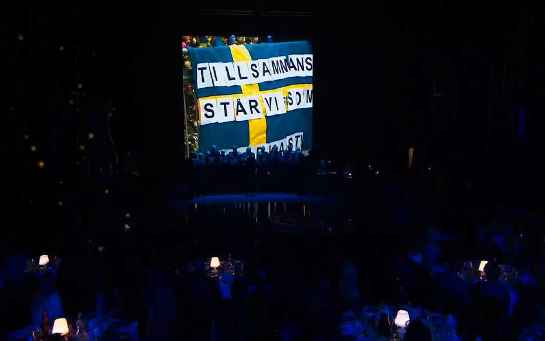 Svenska Hjältar-galan inleddes med ett tal av statsminister Stefan Löfven.