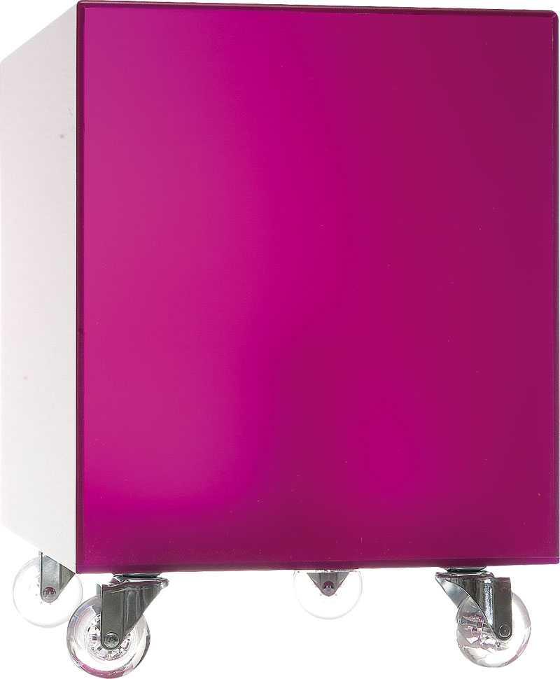 Färgstark kub. Lila, lysande sängbord i akryl på hjul, Ilva, 999 kr.