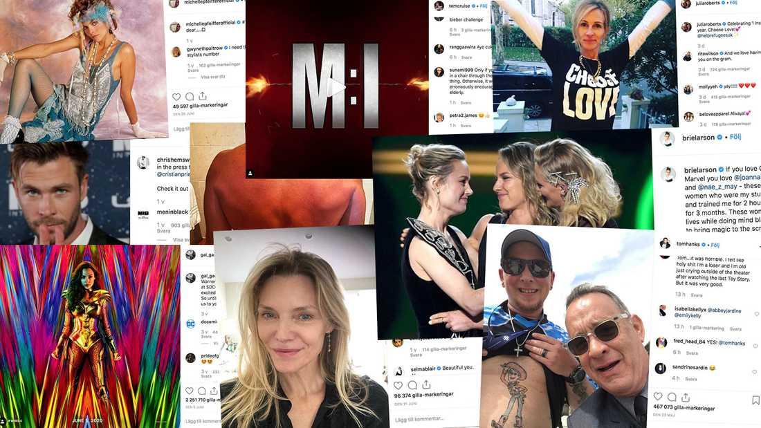 Några av alla Hollywoodskådisar som finns på Instagram.