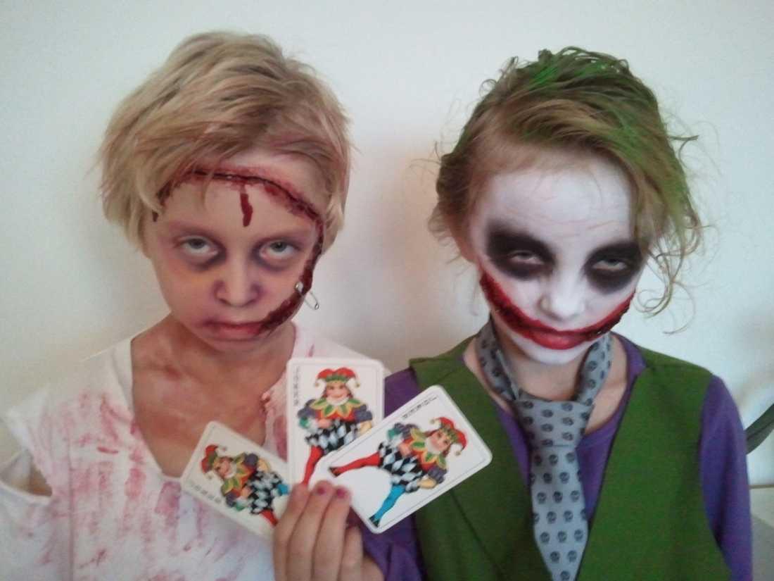 Linus Karjalainen, 10 år, och Angelina Karjalainen, 9 år, sminkade av Frida Karjalainen