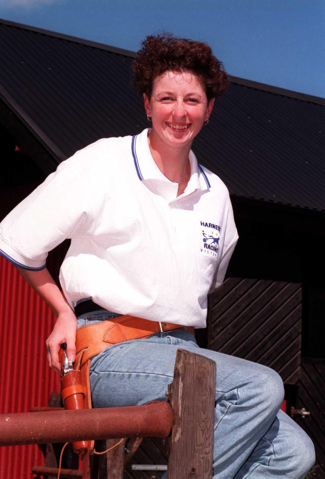 Kerryn Manning på Sverigebesök 1997 med hästen Knight Pistol.