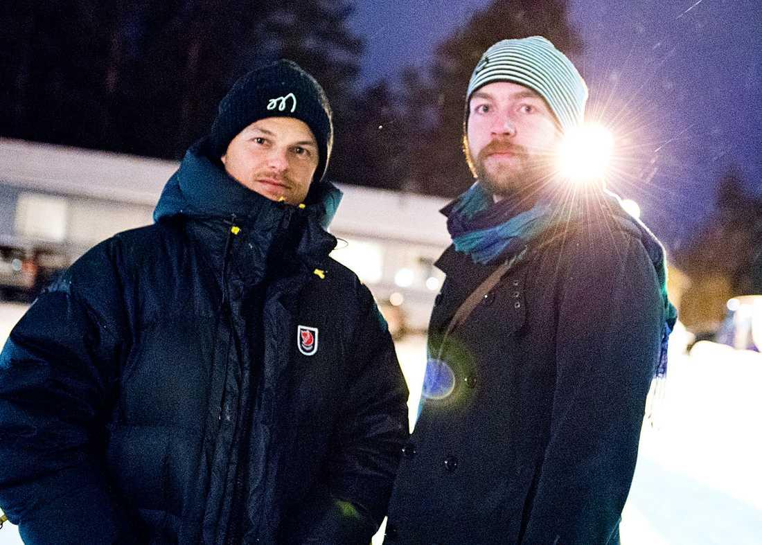 Aftonbladets fotograf Peter Wixtröm och reporter Victor Stenquist på plats.