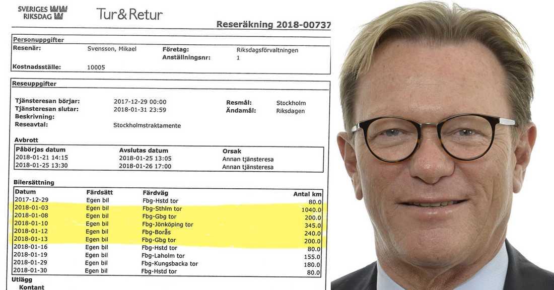 Riksdagsledamoten Michael Svensson (M) har låtit skattebetalarna stå för flera felaktiga körsträckor.