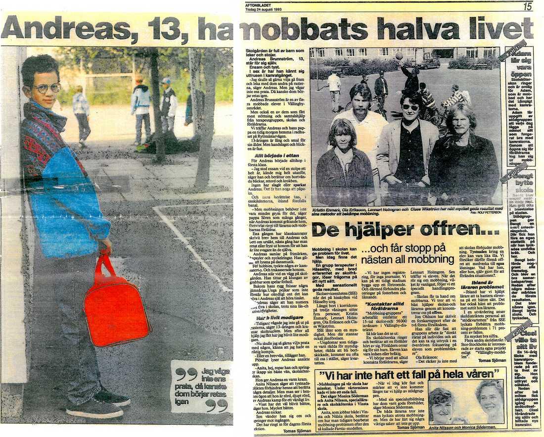 Aftonbladet skrev om Andreas redan 1993.