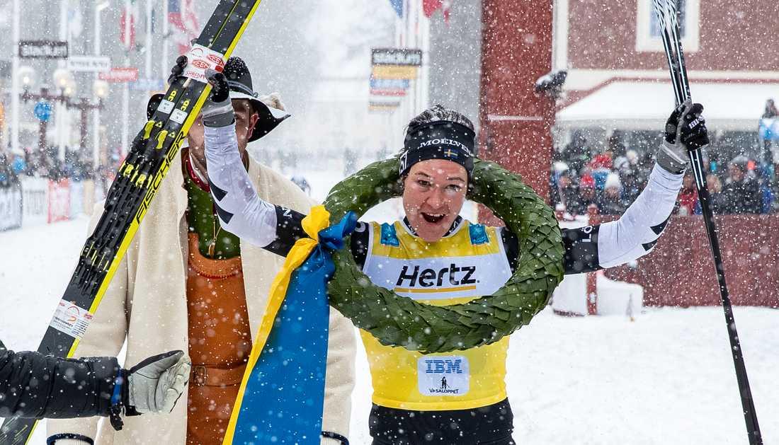 Britta Johansson Norgren efter segern i Vasaloppet 2019.