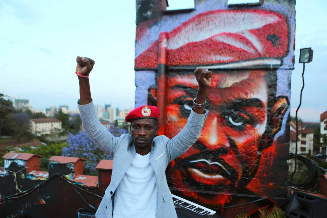 Robert Kyagulanyi, alias Bobi Wine, under ett besök i Kenya i oktober i fjol.