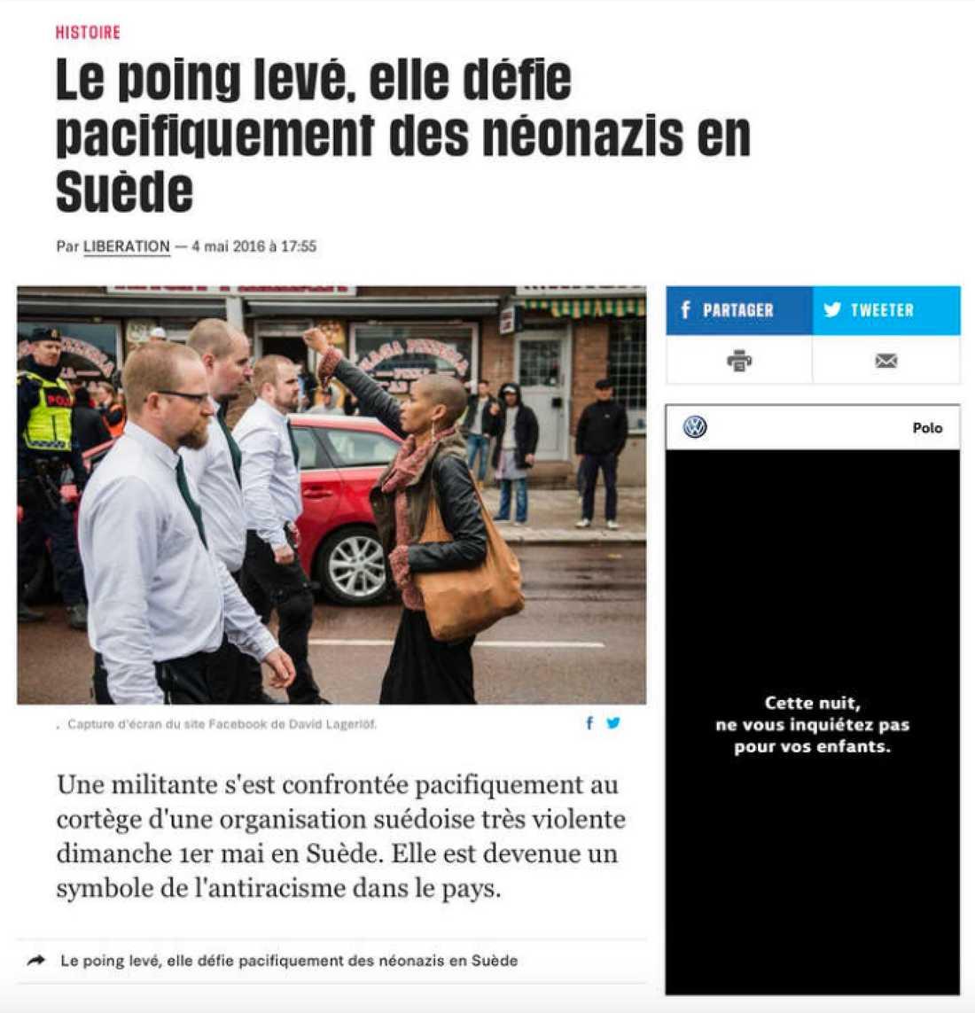 """Franska Liberation: """"Med höjd näve trotsade hon nynazister i Sverige."""""""