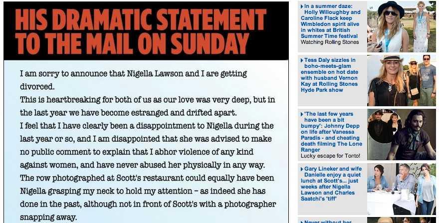 Saatchi skriver själv om händelsen i ett offentligt brev i Mail on Sunday.