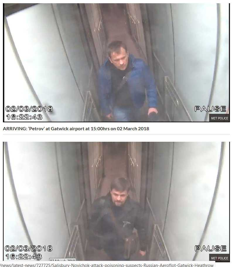 Alexander Petrov och Ruslan Boshirov på övervakningsbilder från  Gatwickflygplatsen.